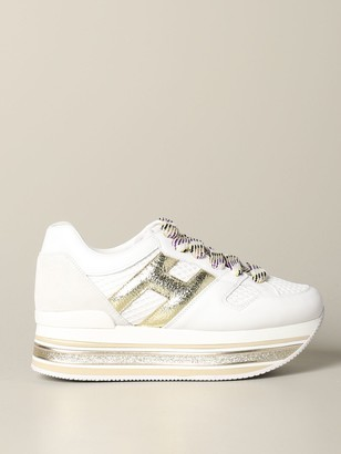 Hogan Sneakers 516 Maxi Platform Sneakers In Leather And Mesh With Big H Laminate And Glitter Piping