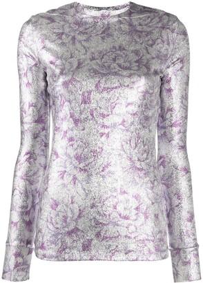 Paco Rabanne metallic floral-print T-shirt
