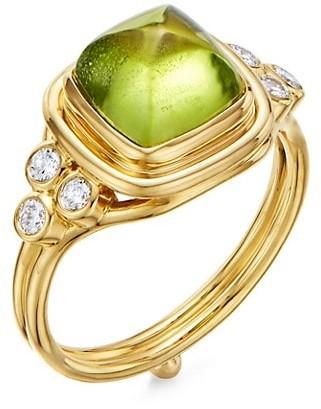 Temple St. Clair High 18K Yellow Gold, Peridot & Diamond Classic Sugar Loaf Ring