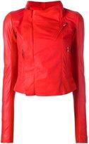 Rick Owens tie back biker jacket - women - Lamb Skin/Cupro - 38