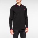 Paul Smith Men's Black PS Logo Long-Sleeve Organic-Cotton Polo Shirt