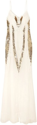 Temperley London Moondrop Sequined Corded Chiffon Maxi Dress
