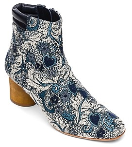Bernardo Izzy Embroidered Wood-Heel Booties