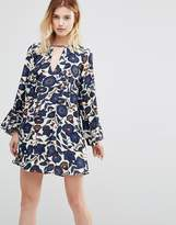 Traffic People Swing Dress With Cut Out Neckline