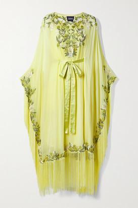 Marchesa Notte Fringed Embellished Georgette Kaftan - Pastel yellow