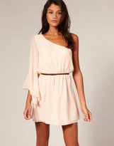 Belted One Fluted Sleeve Dress