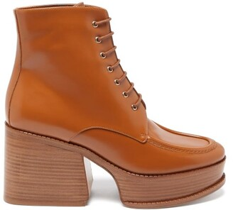 Gabriela Hearst Hattie Leather Platform Ankle Boots - Tan