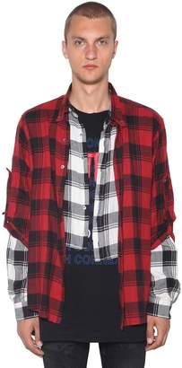 Faith Connexion LAYERED CHECK PATCHWORK COTTON SHIRT