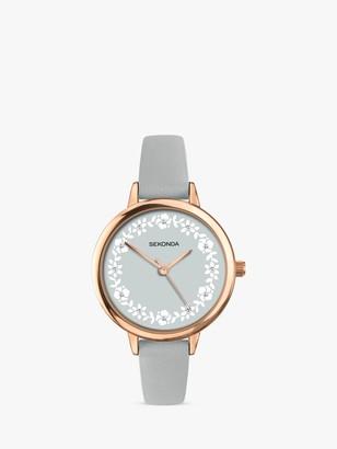 Sekonda Women's Crystal Floral Faux Leather Strap Watch