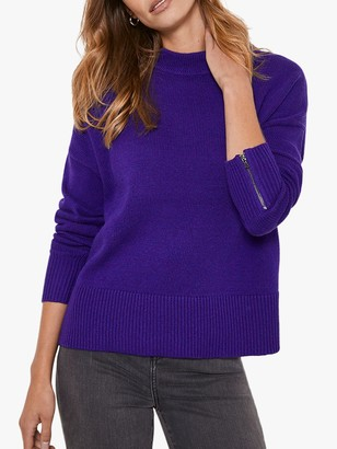 Mint Velvet Zip Cuff Boxy Jumper, Purple