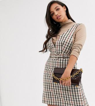 Vero Moda Petite checked mini pinafore dress-Multi