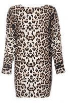 Quiz Black And Stone Leopard Print Oversized Top