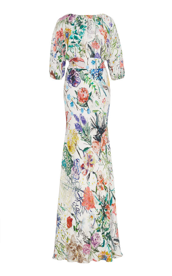 Lela Rose Floral-Print Crepe Gown Size: 0