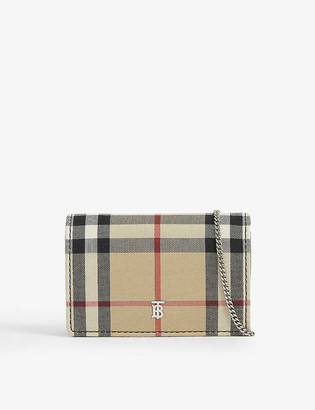 Burberry Jessie vintage check canvas card case with chain
