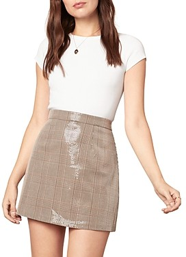 Cupcakes And Cashmere Sequin Plaid Mini Skirt