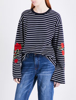 Mo&Co. Striped cotton-jersey top