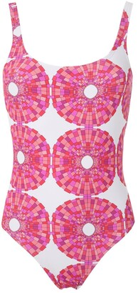 AMIR SLAMA Abstract-Print Open Back One Piece