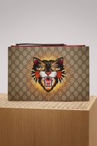 Gucci Angry Cat embroidered GG Supreme pouch