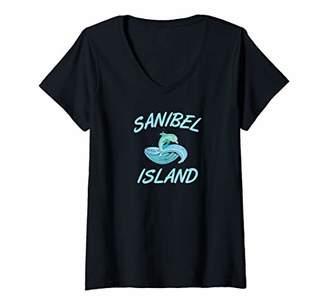Womens Cute Dolphin Sanibel Island V-Neck T-Shirt