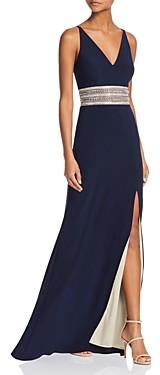 Aqua Avery G Embellished-Waist Gown