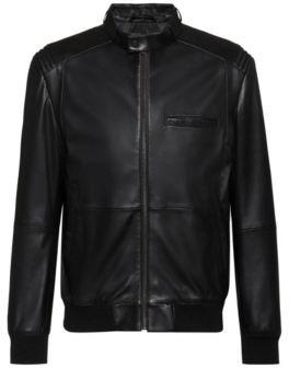 HUGO BOSS Slim Fit Biker Jacket In Nappa Leather - Black