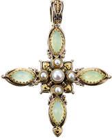Konstantino Amphitrite Agate & Pearl Cross Pendant Enhancer