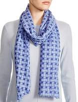 Aqua Frayed Basket Check Scarf - 100% Exclusive