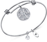 Unwritten Angel Disc Bangle Bracelet in Stainless Steel and Silver-Plate