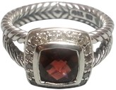 David Yurman Petite Albion Sterling Silver Pyrope Garnet & Diamonds Ring Size 8