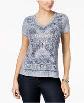 Style&Co. Style & Co Petite Printed V-Neck T-Shirt, Created for Macy's