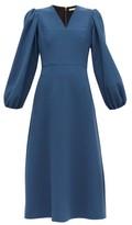 Emilia Wickstead Carmina Balloon-sleeve Wool-crepe Midi Dress - Womens - Blue