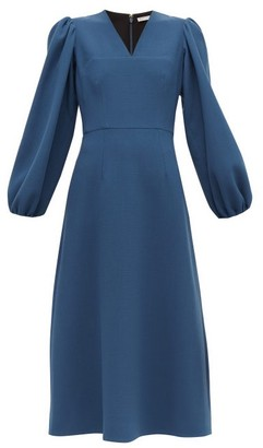 Emilia Wickstead Carmina Balloon-sleeve Wool-crepe Midi Dress - Blue
