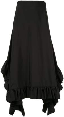 GOEN.J draped ruffle trim maxi skirt