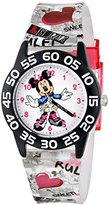 Disney Kids' W001248 Minnie Mouse Black Plastic Watch with Clear Printed Strap