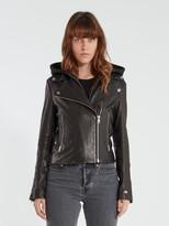 Soia & Kyo Allison Moto Leather Hooded Jacket