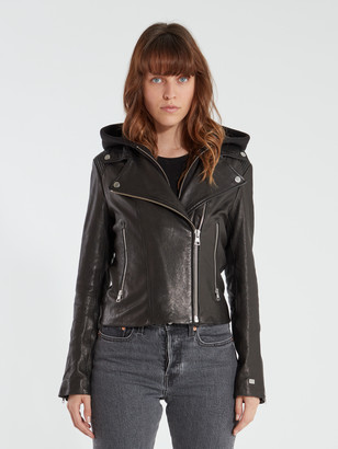 Soia & Kyo Allison Moto Leather Hooded Jacket