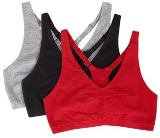 Fruit of the Loom Womens Shirred Front Racerback Sports Bra, Style 90011, 3-Pack