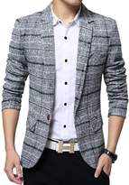 SITENG Mens Tweed Blazer Jacket Plaid Cotton Single-breast Suits Sport Coat Men(Grey)