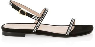 Stuart Weitzman Samarra Flat Embellished Suede Sandals