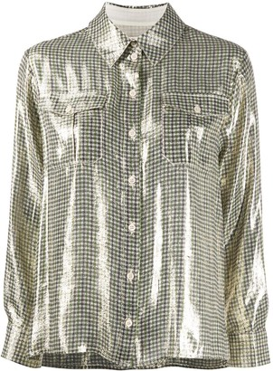ALEXACHUNG Houndstooth Check Shimmer Shirt