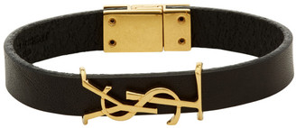 Saint Laurent Black and Gold Leather Opyum Bracelet