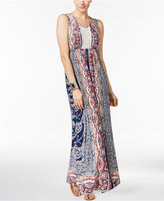 Style&Co. Style & Co Petite Printed Crochet-Detail V-Neck Maxi Dress, Only At Macy's