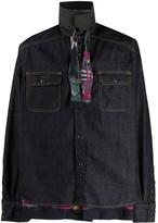 Sacai denim layered shirt