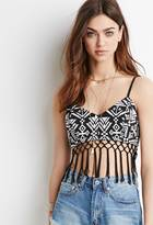 Forever 21 FOREVER 21+ Tribal Pattern Fringed Crop Top