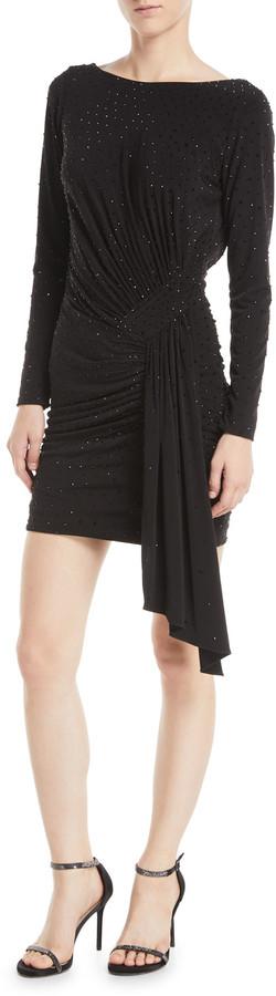 Jovani Long-Sleeve Shirred Low-Back Cocktail Dress