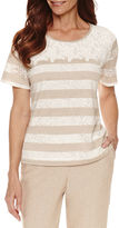 Alfred Dunner Ladies Who Lunch Short Sleeve Round Neck T-Shirt-Petites