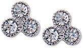 Lauren Ralph Lauren Silver-Tone Triple Crystal Bezel Stud Earrings
