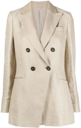 Brunello Cucinelli Double-Breasted Linen Blazer