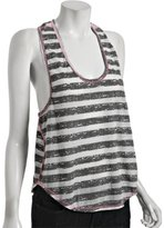 charcoal stripe jersey racer back crop tank