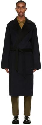 Nanushka Navy and Black Wool Timo Coat
